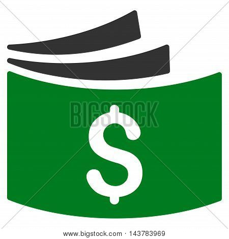 Checkbook icon. Vector style is bicolor flat iconic symbol with rounded angles, green and gray colors, white background.