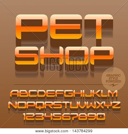 Set of glossy orange alphabet letters, numbers and punctuation symbols. Vector reflective emblem with text Pet shop. File contains graphic styles