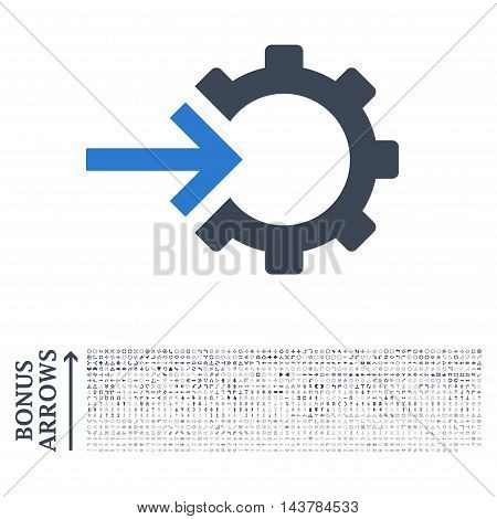Cog Integration icon with 1200 bonus arrow and direction pictograms. Vector illustration style is flat iconic bicolor symbols, smooth blue colors, white background.