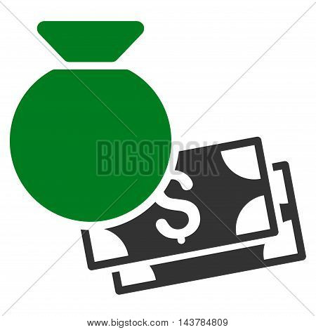 Money Bag icon. Vector style is bicolor flat iconic symbol with rounded angles, green and gray colors, white background.