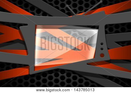 gray and orange carbon fiber frame on black mesh carbon background. metal background and texture. 3d illustration material design.