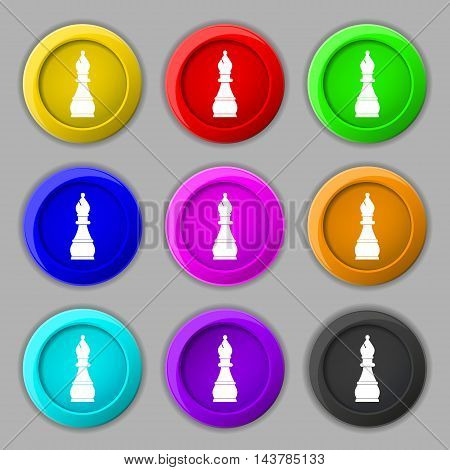Chess Bishop Icon Sign. Symbol On Nine Round Colourful Buttons. Vector