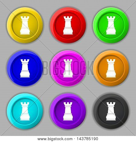 Chess Rook Icon Sign. Symbol On Nine Round Colourful Buttons. Vector