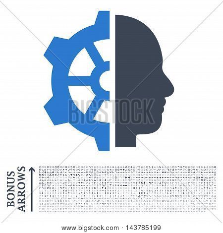 Cyborg Gear icon with 1200 bonus arrow and navigation pictograms. Vector illustration style is flat iconic bicolor symbols, smooth blue colors, white background.