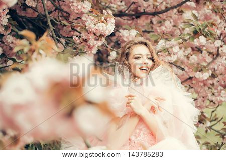 Happy Woman In Blossom
