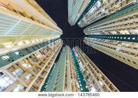 Skyscraper to the sky at night