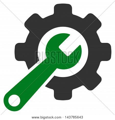 Tools icon. Vector style is bicolor flat iconic symbol with rounded angles, green and gray colors, white background.