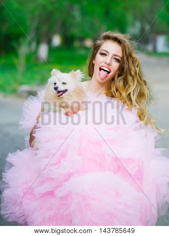 Glamour Woman With Dog