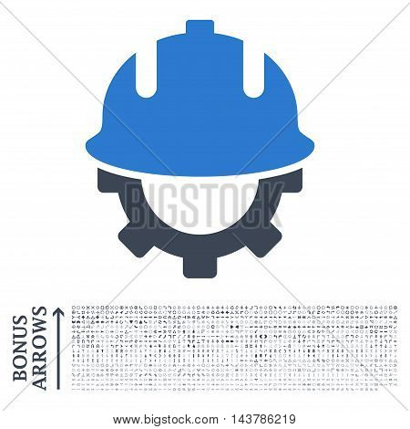 Development Helmet icon with 1200 bonus arrow and direction pictograms. Vector illustration style is flat iconic bicolor symbols, smooth blue colors, white background.