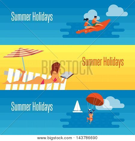 Summer holidays banner vector illustration. Sexy girl sunbathes on beach under the sun. Seascape with people on banana boat and man with parachute. Concept of holiday at sea. Beach activities.