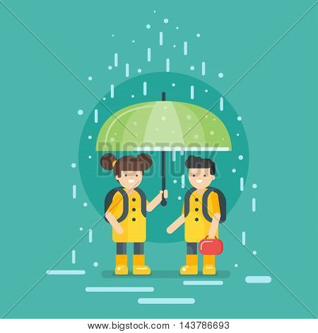 Vector illustration of smiling kids going to school in the rain. Back to school concept.