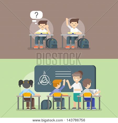 Vector illustration of kids at school. Back to school concept. Teacher and kids on the lesson.