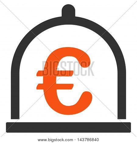 Euro Storage icon. Vector style is bicolor flat iconic symbol with rounded angles, orange and gray colors, white background.