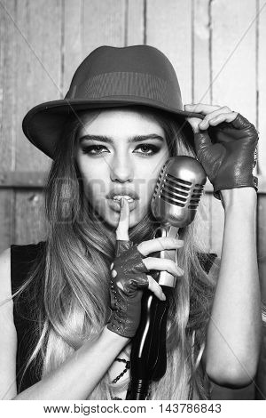 Pretty Woman With Microphone