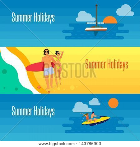 Summer holidays banner vector illustration. Young happy couple walking on beach. Seascape with yacht, sunset and couple riding jet ski. Boating, beach activities, water ski. Concept of holiday at sea