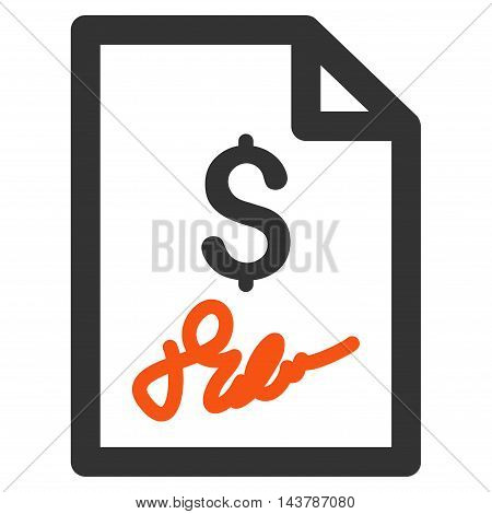 Invoice Page icon. Vector style is bicolor flat iconic symbol with rounded angles, orange and gray colors, white background.