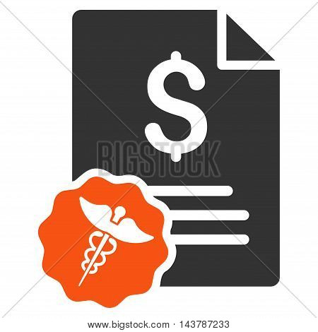 Medical Invoice icon. Vector style is bicolor flat iconic symbol with rounded angles, orange and gray colors, white background.