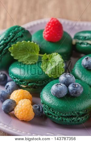 Traditional French Sweets. A Green Makorunas With Mint, White An