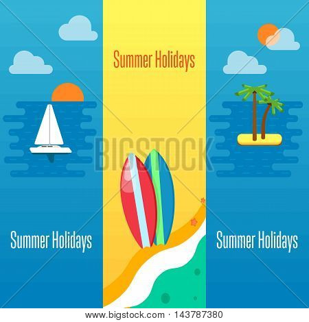 Summer holidays banner vector illustration. Colorful surfboards on beach. Seascape with yacht, tropical island, palm trees and sunset on the beach. Concept of holiday at sea.