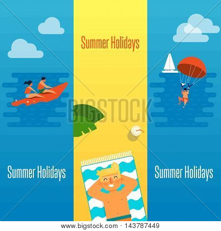Summer holidays banner vector illustration. Man sunbathes on beach under the sun. Seascape with people on banana boat and man with parachute. Concept of holiday at sea. Outdoor leisure.