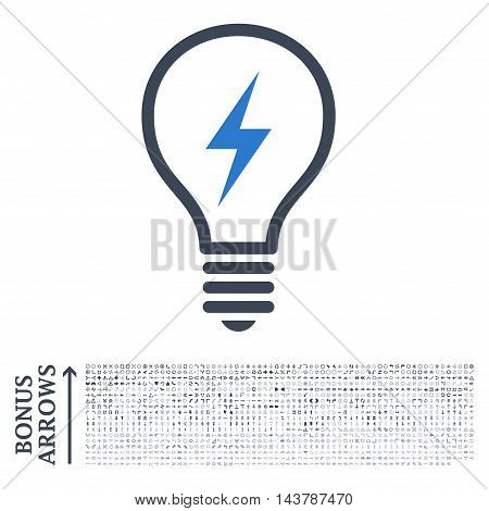 Electric Bulb icon with 1200 bonus arrow and navigation pictograms. Vector illustration style is flat iconic bicolor symbols, smooth blue colors, white background.