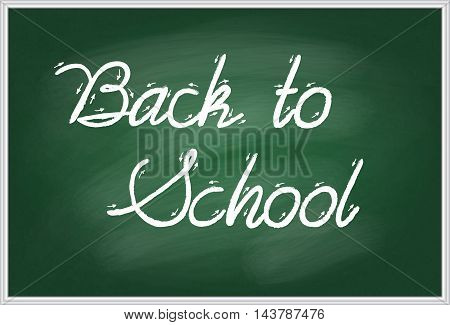 Vector illustration of words Back to school handwritten with white chalk on a green school board in a metal frame. EPS 10