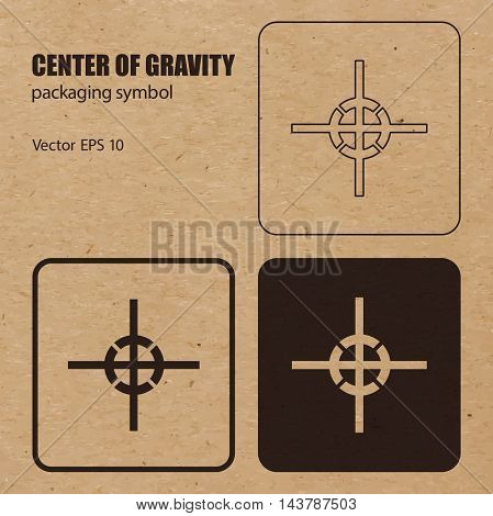 Different appearances of Center of gravity packaging symbol on craft paper background can be used on the box or packaging. Vector EPS 10.