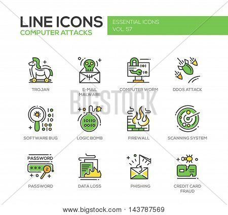 Computer Attacks - modern vector line design icons and pictograms set. Trojan, e-mail malware, worm, ddos, software bug, logic bomb, firewall, scanning system, password, data loss, phishing, credit card fraud