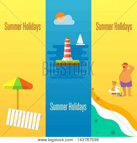 Summer holidays banner vector illustration. Sun lounger and beach umbrella on sand. Father with little son on beach. Seascape with yacht and lighthouse. Concept of holiday at sea.