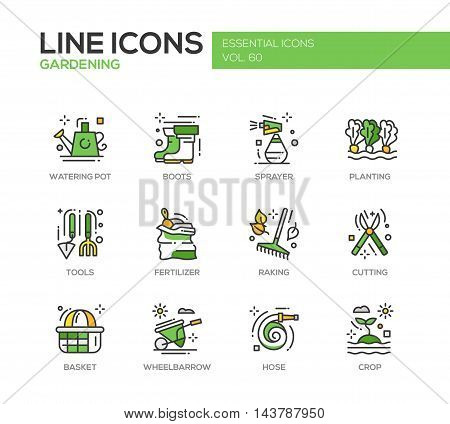 Gardening - modern vector line design icons and pictograms set. Watering pot, boots, sprayer, planting, tools, fertilizer, raking, cutting basket wheelbarrow hose crop