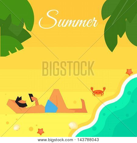 Summer banner vector illustration. Man in blue swimming trunks using smartphone on beach. Sand beach with sea crab, palm leaves and starfish. Summer background. Natural landscape. Outdoor leisure