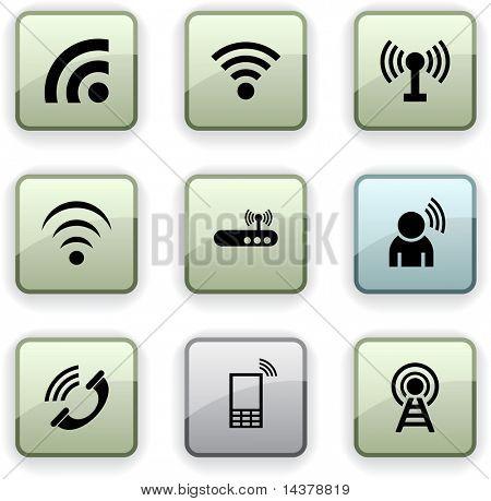 Communication  set of square dim icons.