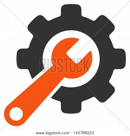 Tools icon. Vector style is bicolor flat iconic symbol with rounded angles, orange and gray colors, white background.