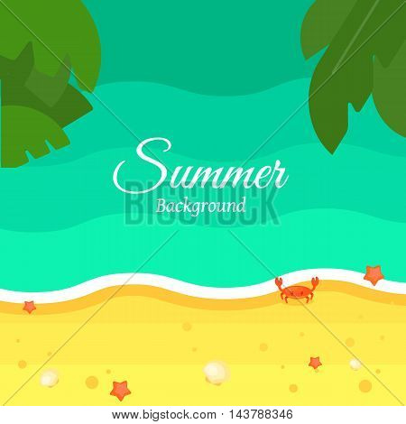 Summer beach background, vector illustration. Sand beach with palm leaves, tidal bore, sea crab and starfish. Natural landscape. Space for text. Concept of holiday at sea. Natural seascape.