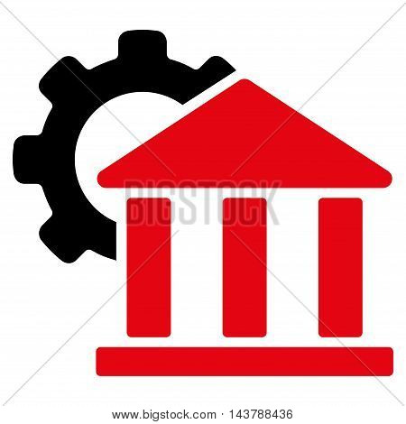 Bank Settings icon. Vector style is bicolor flat iconic symbol with rounded angles, intensive red and black colors, white background.