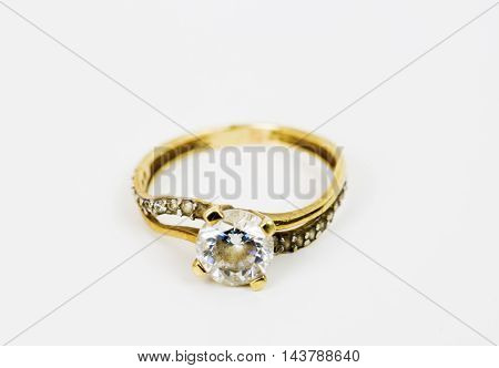 The white gold ring with natural diamonds.