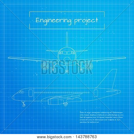 Vector illustration of plane. Engineering aircraft blueprint background or project.