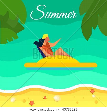Summer background, vector illustration. Happy couple on yellow water bicycle in water. Sand beach with palm leaves and starfish. Natural landscape. Summer fun. Sea time. Outdoor leisure