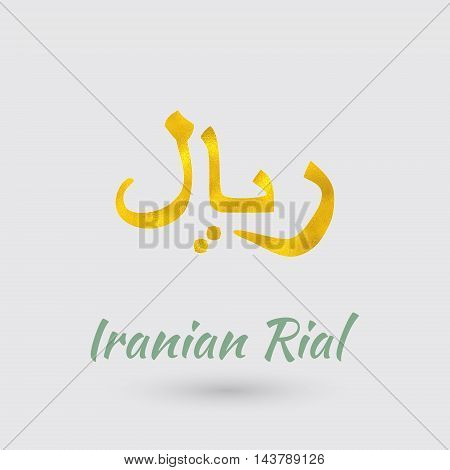 Symbol of the Iran Currency with Golden Texture.Vector EPS 10