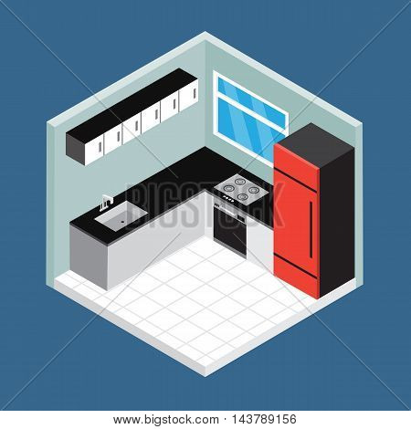 Isometric kitchen room vector perspective design .