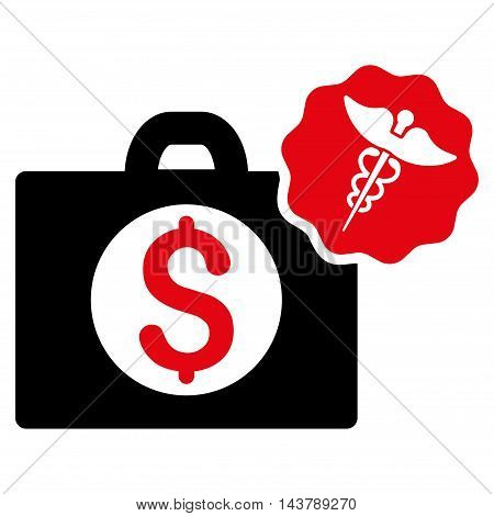 Medical Business icon. Vector style is bicolor flat iconic symbol with rounded angles, intensive red and black colors, white background.