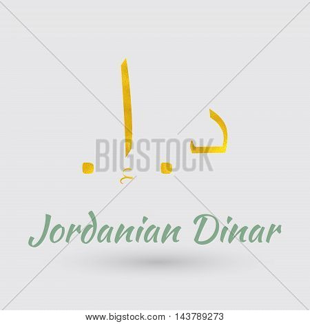Symbol of the Jordan Currency with Golden Texture.Vector EPS 10