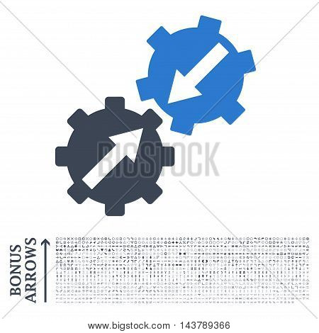 Gear Integration icon with 1200 bonus arrow and direction pictograms. Vector illustration style is flat iconic bicolor symbols, smooth blue colors, white background.