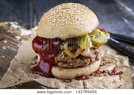 Barbecue Hamburger with Ketchup