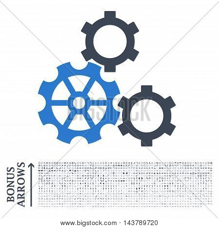 Gears icon with 1200 bonus arrow and direction pictograms. Vector illustration style is flat iconic bicolor symbols, smooth blue colors, white background.