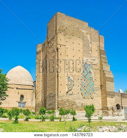 The Dorus-Saodat Mausoleum of Hazrat-i Imam Complex is the famous landmark in Shakhrisabz Uzbekistan.