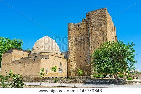 The Dorus-Saodat Mausoleum of Hazrat-i Imam Complex contains the Tomb of Timur's son Shakhrisabz Uzbekistan.