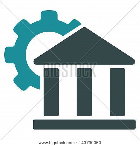 Bank Settings icon. Vector style is bicolor flat iconic symbol with rounded angles, soft blue colors, white background.