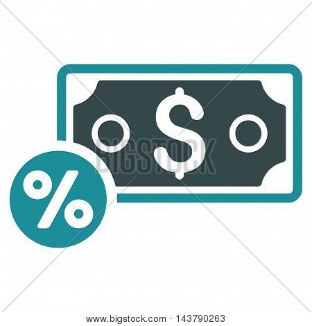Banknote Percent icon. Vector style is bicolor flat iconic symbol with rounded angles, soft blue colors, white background.