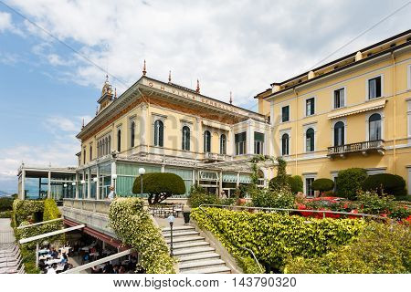 Bellagio Italy - May 06 2016: Courtyard of the Grand Hotel Villa Serbelloni at spring time